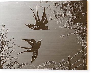 Playful Swalows Digital Art Wood Print by Georgeta  Blanaru