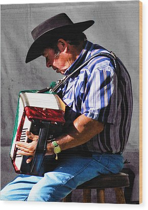 Playing For Taos Wood Print by Terry Fiala