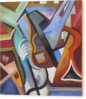 Playing Guitar Wood Print by Amarok A
