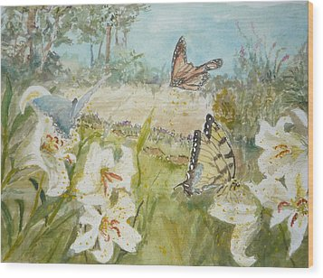 Playing In The Garden Wood Print by Dorothy Herron