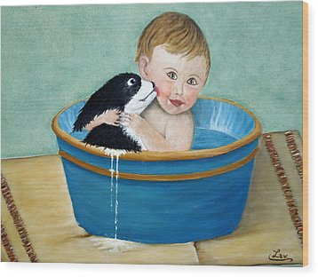 Playing In The Tub Wood Print by Chris Law
