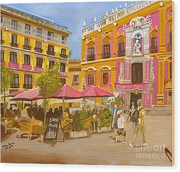 Plaza Malaga Wood Print by Judy Morris