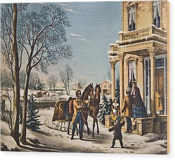 Pleasures Of Winter By Currier And Ives Wood Print by Susan Leggett