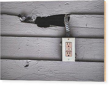 Plug In- Out Wood Print