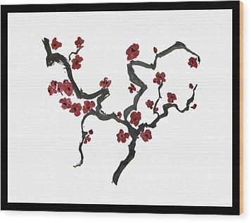 Wood Print featuring the painting Plum Blossoms by Alethea McKee