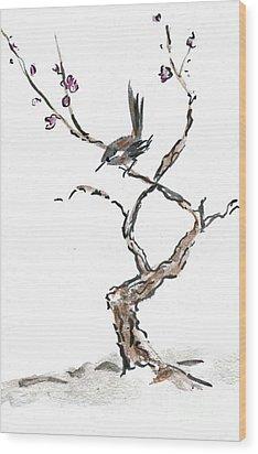 Plum Blossoms Wood Print by Ellen Miffitt