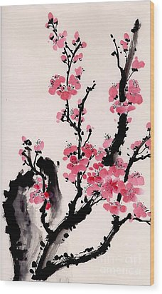 Wood Print featuring the painting Plum Blossoms Iv by Yolanda Koh