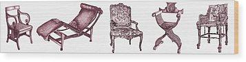 Plum Chair Poster Horizontal  Wood Print by Adendorff Design