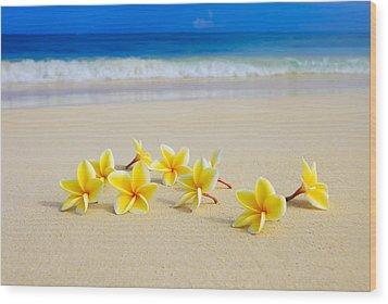 Plumerias On Beach II Wood Print