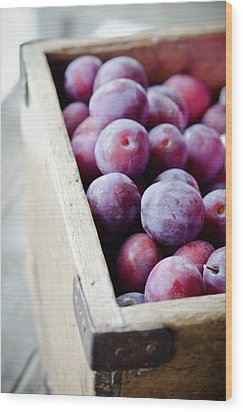 Plums Wood Print by Marju Randmer