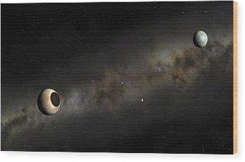 Pluto And Charon Artwork Wood Print by Mark Garlick