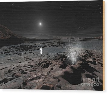 Pluto May Have Springs Of Liquid Oxygen Wood Print by Ron Miller