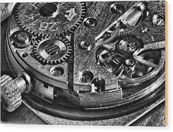 Pocket Watch Mechanism Wood Print by Maxim Sivyi