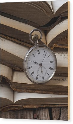 Pocket Watch On Pile Of Books Wood Print by Garry Gay