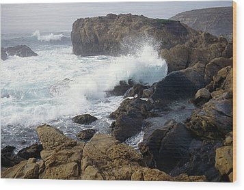 Point Lobos Whale Rock Wood Print