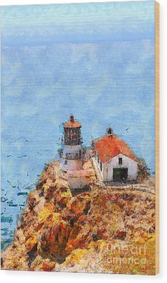 Point Reyes Lighthouse In California . 7d15989 Wood Print by Wingsdomain Art and Photography