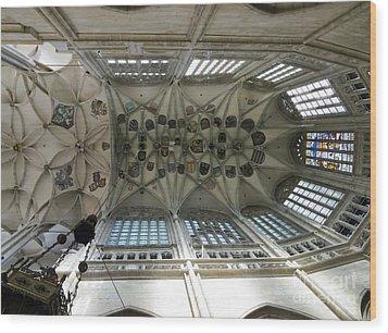pointed vault of Saint Barbara church Wood Print by Michal Boubin
