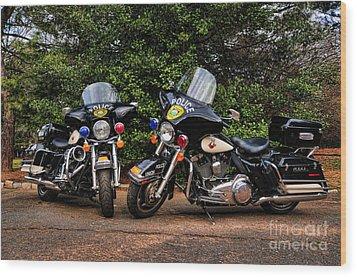 Police Motorcycles Wood Print by Paul Ward