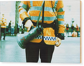 Police Officer Wood Print by Kevin Curtis