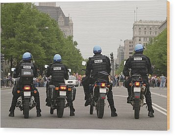 Police Officers Stand Sentinel Wood Print by Jim Webb