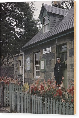 Policeman And Dog Stand At Police Wood Print by B. Anthony Stewart