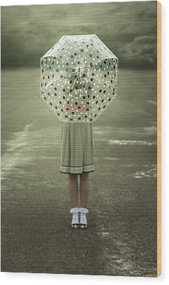 Polka Dotted Umbrella Wood Print by Joana Kruse