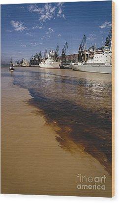 Polluted Water, Rio De La Plata Wood Print by Bernard Wolff