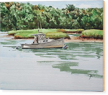 Polly C On The Mill River Wood Print by Peter Sit