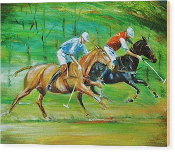 Polo Horses Wood Print by Unique Consignment