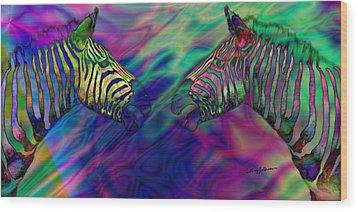 Polychromatic Zebras Wood Print by Anthony Caruso