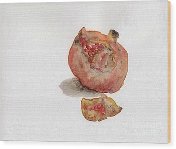 Wood Print featuring the painting Pomegranate  by Annemeet Hasidi- van der Leij