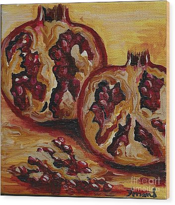 Wood Print featuring the painting Pomegranate by Karen  Ferrand Carroll