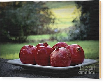 Pomegranates On White Platter 3 Wood Print by Tanya  Searcy