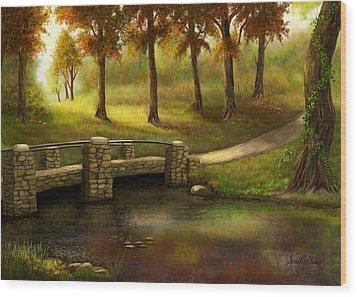 Pond Crossing Wood Print
