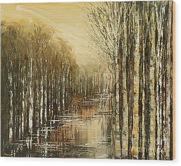 Wood Print featuring the painting Pond Security by Tatiana Iliina