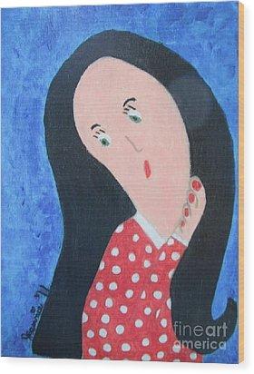 Pondering Black Haired Girl Wood Print by Jeannie Atwater Jordan Allen