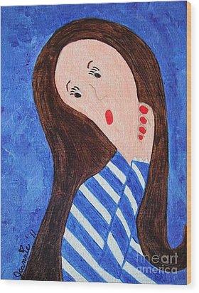 Pondering Brunette Wood Print by Jeannie Atwater Jordan Allen