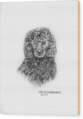 Wood Print featuring the drawing Poodle by Jim Hubbard