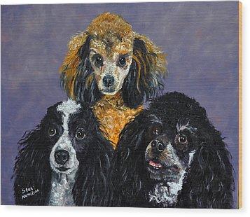 Poodles Wood Print by Stan Hamilton