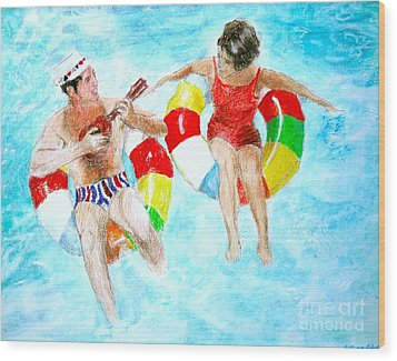 Pool Wood Print by Beth Saffer