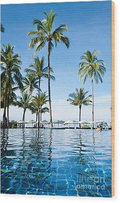 Poolside Wood Print by Atiketta Sangasaeng
