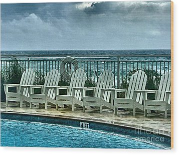 Poolside With A View Wood Print by Julie Dant