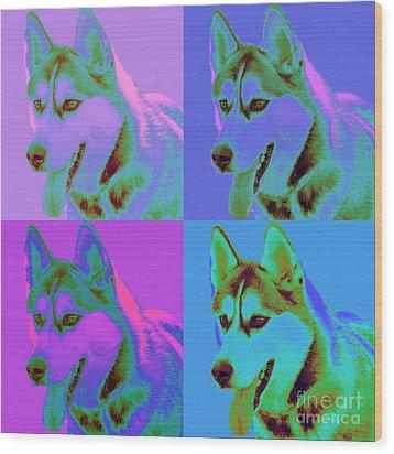 Pop Art Siberian Husky Wood Print by Renae Laughner