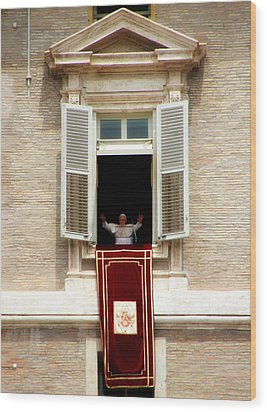 Pope Benedict Xvi A Wood Print by Andrew Fare