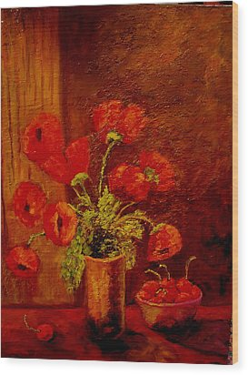 Poppies And Cherries Wood Print by Marie Hamby