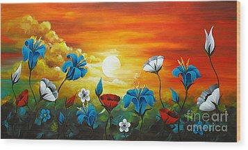 Poppies And Iris Wood Print by Uma Devi