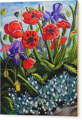 Poppies And Irises Wood Print by Renate Nadi Wesley