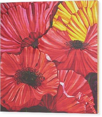 Poppies Fantasy Wood Print by Gabriela Stavar