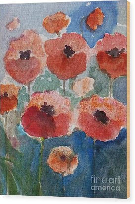 Poppies In June Wood Print by Trilby Cole