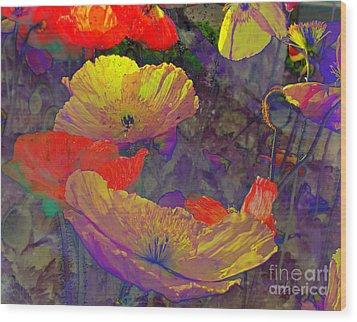 Wood Print featuring the mixed media Poppies by Irina Hays